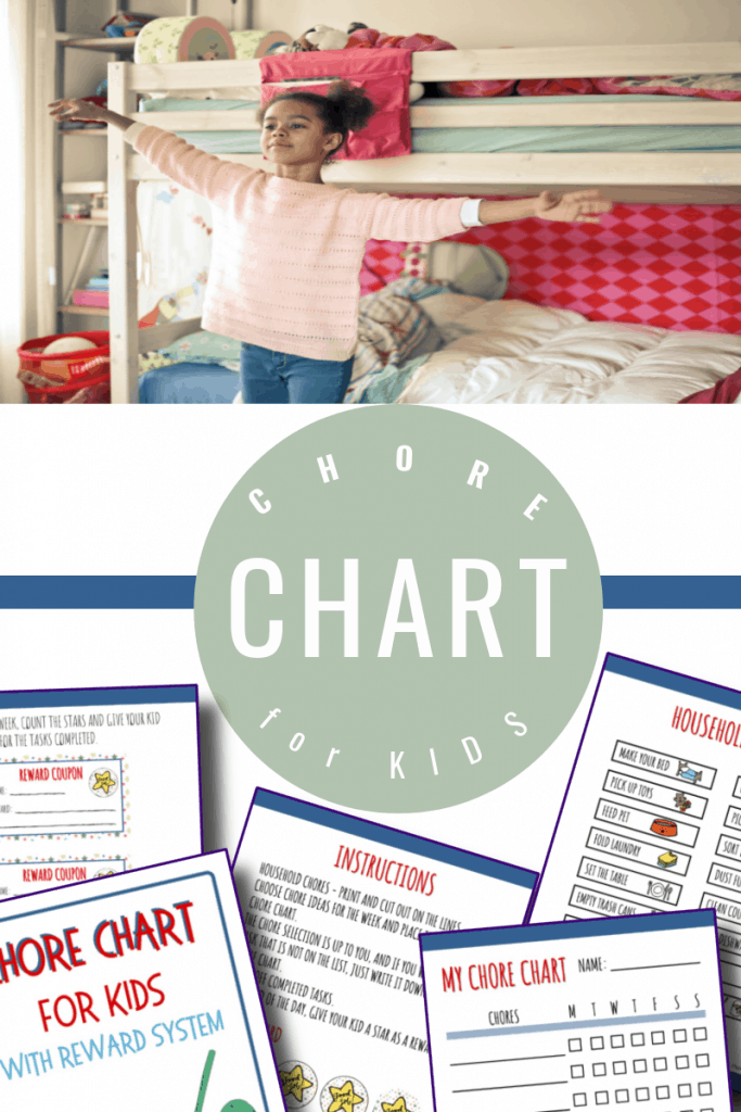 top image - girl with arms out in front of bed, bottom image - chore chart pages with title text reading Chore Chart for Kids