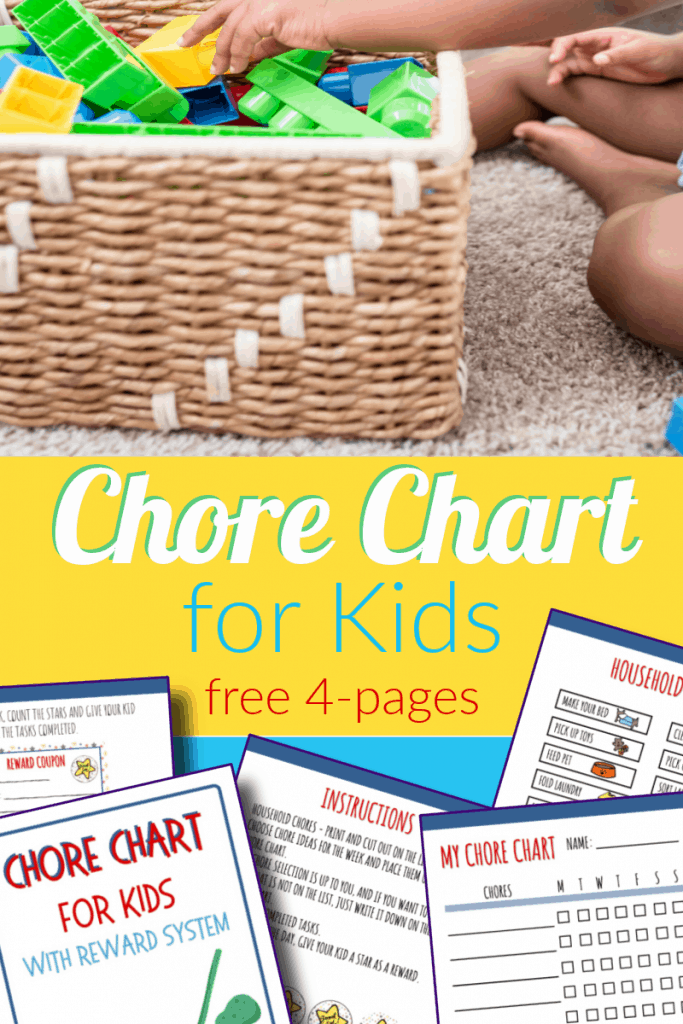 top image - child putting blocks into basket, bottom image - 5 pages of kids chore chart with title text reading Chore Chart for Kids free 4 pages