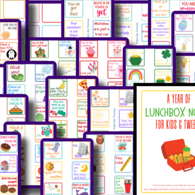 colorful images of kids lunchbox notes