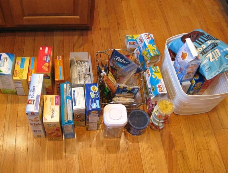food items sorted on floor