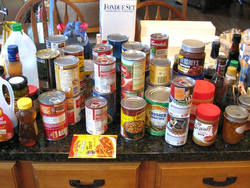 canned food sorted on counter