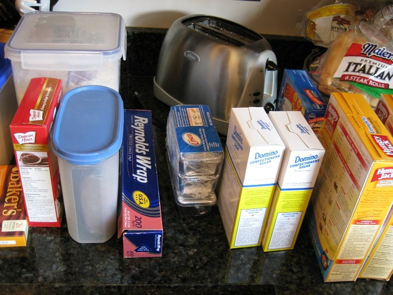 boxed food sorted on counter