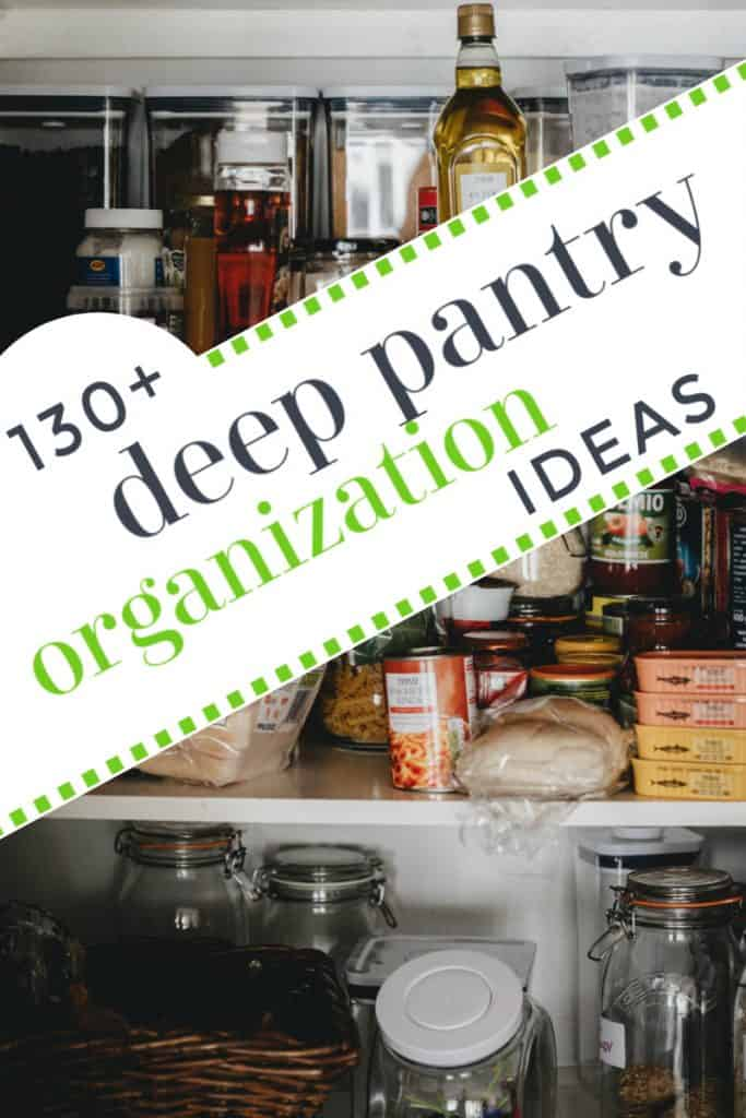 disorganized pantry shelves with text overlay