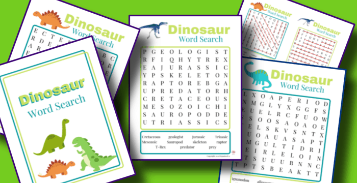 close up of 5 colorful worksheets on green background