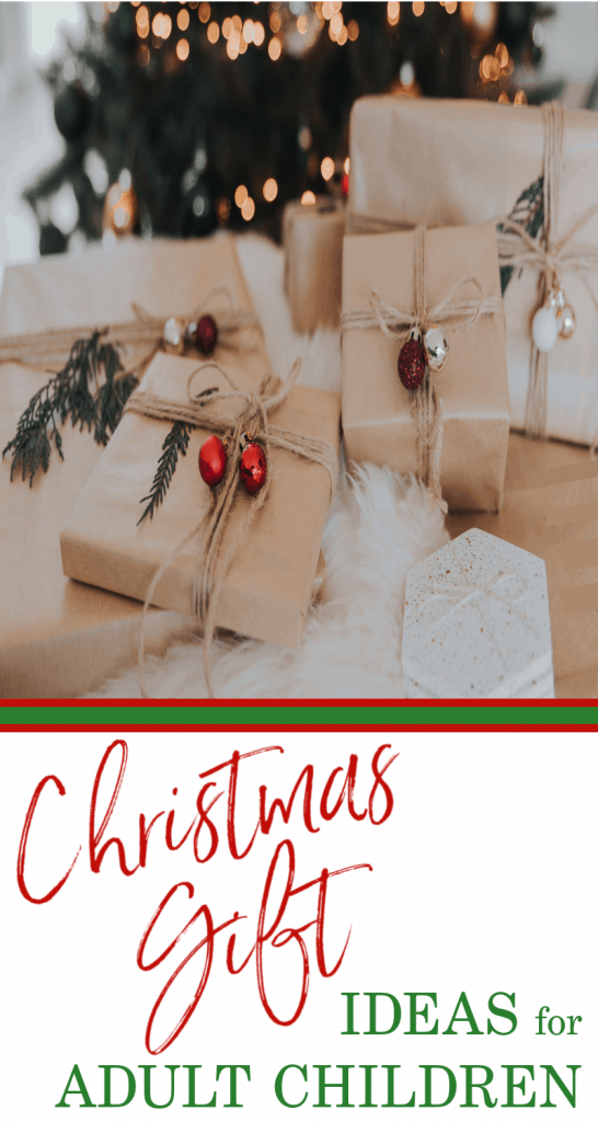 brown paper wrapped gifts with red bows and green embellishments