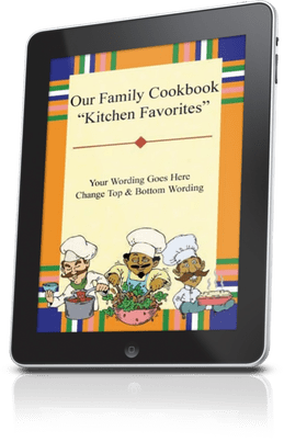 ipad with image of cookbook cover