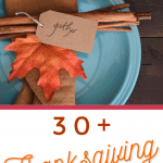 blue plate with fall leaf and brown napkin and nametag