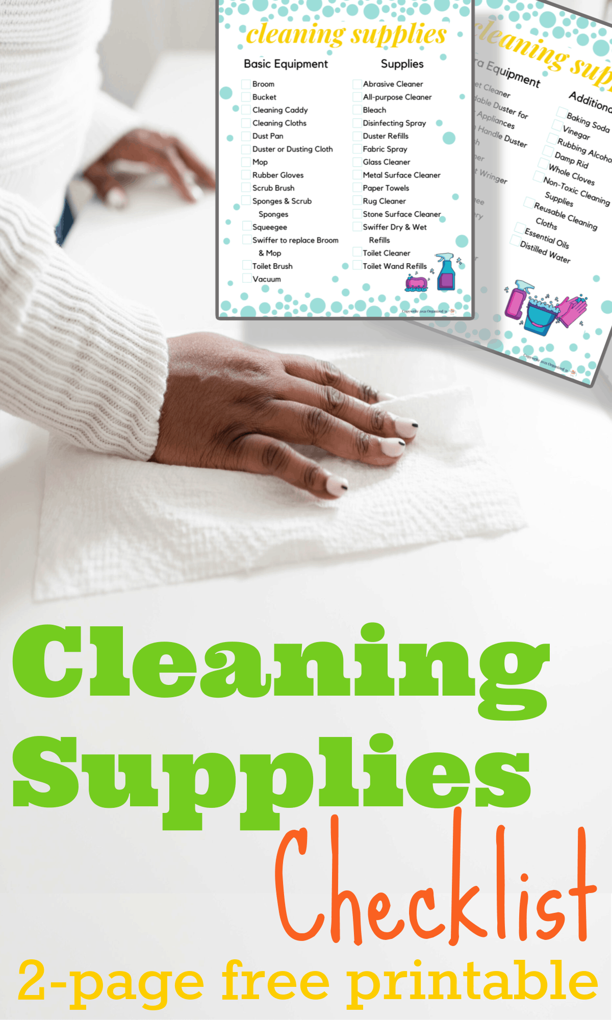 hand cleaning counter with paper towel with free printable cleaning checklist inlay