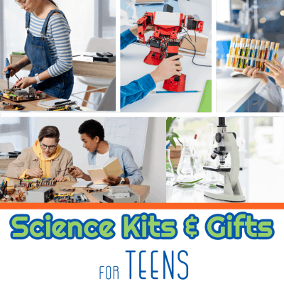 collage of 5 images of teens and science projects