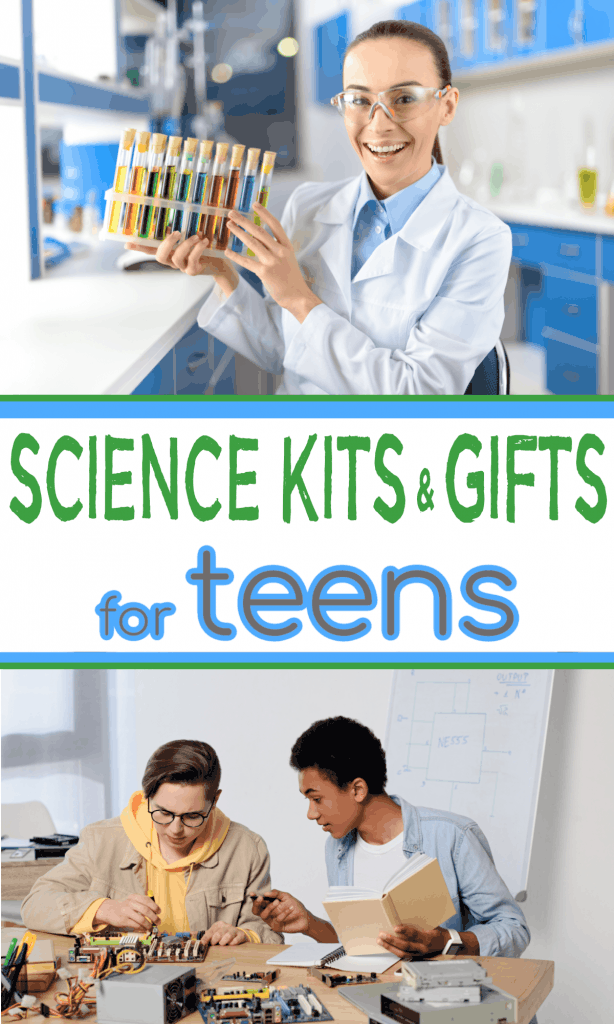 top image - teen girl with chemistry set, bottom image - 2 teen boys working on engineering set with title text reading Science Kits & Gifts for Teens