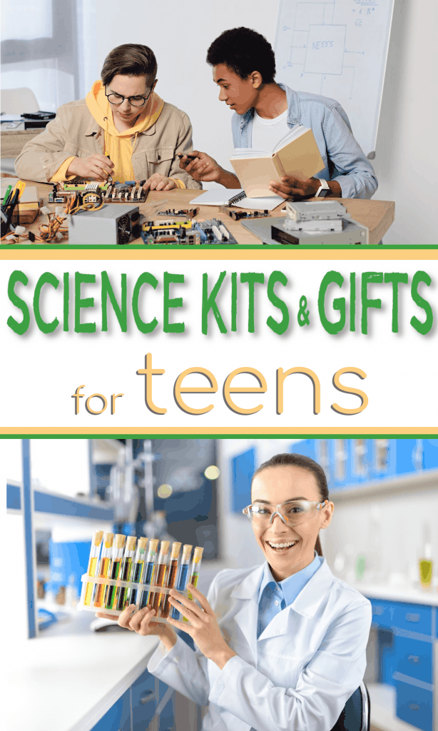 top image - 2 teen boys working on engineering set, Bottom image - teen girl with chemistry set