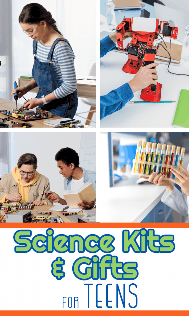 collage of 4 images of teens and science projects