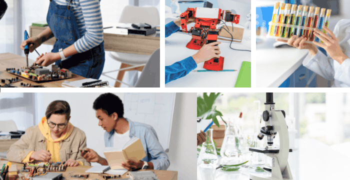collage of 5 images of teens and STEM projects