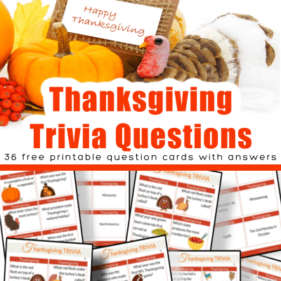 top image - pumpkin and turkey with happy thanksgiving sign, bottom image 8 Thanksgiving Trivia question card sheets